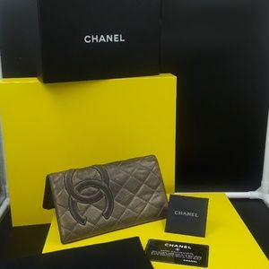 Authentic Chanel bronze quilted wallet